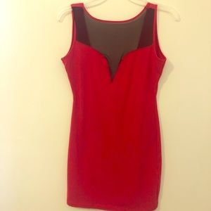 Red short bodycon dress